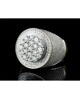 Men's 10K Yellow Gold Real Diamond Round Cluster Ring 2.25ct
