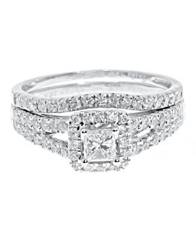 14k White Gold Ladies Princess Diamond Solitaire Bridal Ring Set (1.0 ct)