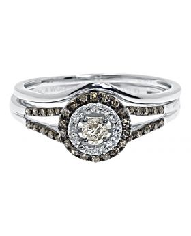 Brown White Diamond Solitaire Bridal Ring Set in 14k White Gold (0.33 ct)