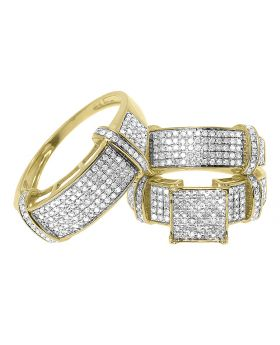 Round Pave Diamond Trio Ring Set in 10k Yellow Gold (1.28 ct)
