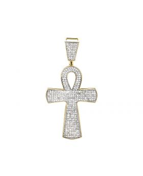 "10K Yellow Gold Ankh Cross Genuine Diamond 1.5"" Pendant Charm 1.0ct"