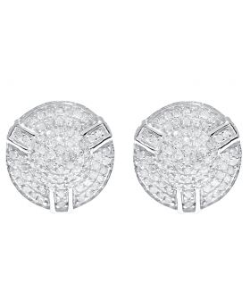 12mm Round Pave Diamond 3D Earrings in White Gold (0.50 ct)