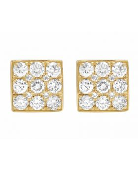 14K Yellow Gold Three Rows Square Round Cut Genuine Diamond Stud Earrings 8MM