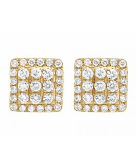 14K Yellow Gold Full Cut Real Diamond 11MM Square Halo Stud Earring 1 1/2 ct