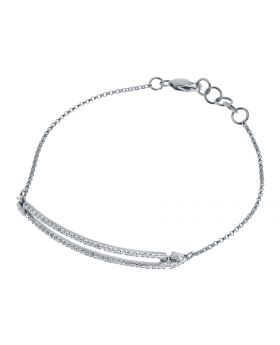 10k White Gold Ladies Round Pave Diamond Chain Bracelet (0.55 ct)
