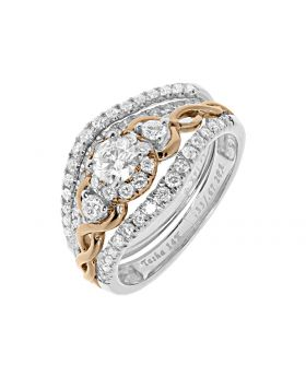 Two tone Three Stone Bridal Ring with round Diamond (1.01 ct)