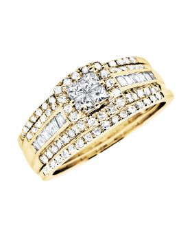 14K Yellow Gold Princess Quad/Round/Baguette Diamond Stackable Wedding Ring Set 1.0ct.