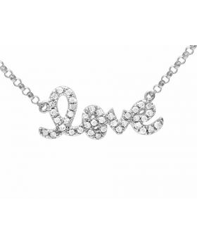 Ladies 10K White Gold Real Diamond Love Necklace .20 ct
