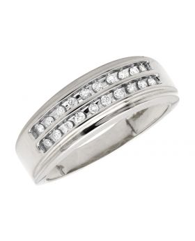 10K White Gold Two Rows Channel-Set Diamond Band Ring 0.25ct
