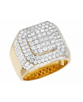 Men's 14K Yellow Gold Real Diamond 3D Square Pinky Ring 3.35Ct 17MM