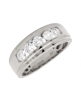 14K White Gold One Row Invisible-Channel-Set Diamond Band Ring (1.0t)