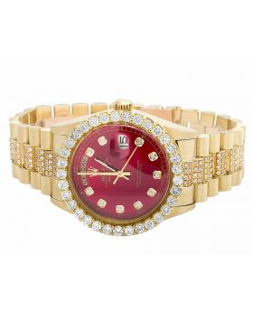 Rolex President 18K Yellow Gold Day-Date President Red Dial Diamond Watch (9.5 Ct)
