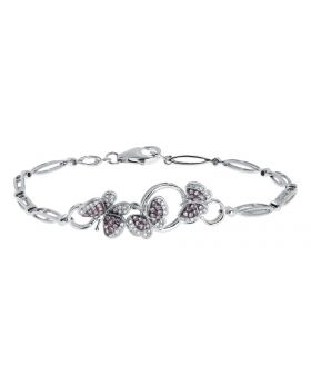 10k White Gold Diamond Pink Sapphire Butterfly Bracelet (0.25 ct)