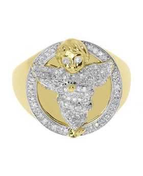 10k Yellow Gold Mens Diamond Angel Fashion Pinky Ring (0.50 ct)
