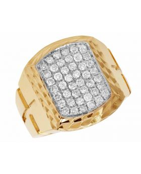 Men's Real Diamond Pave Square 10K Yellow Gold Pinky Ring 1.2ct 20MM