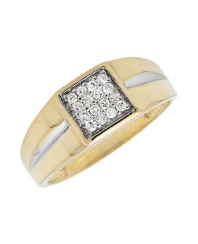 Mens 10K Two-Tone Gold Pave Diamonds Squared Top Pinky Ring (0.25ct)