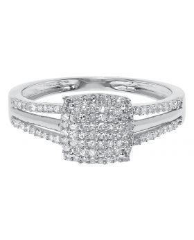 10k White Gold Pave Diamond Engagement Ring with Split Shank (0.25 ct)