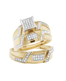 10K Yellow Gold Square Top Real Diamond Trio Bridal Ring Set 3/8 Ct