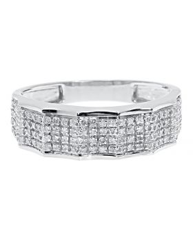 Men's 6.5mm 4 Row Pave Diamond Wedding Fashion Band Ring in 10k White Gold (0.45 ct)