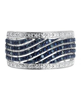 Blue Diamond Fashion Cocktail 11mm Band in Silver (0.29ct)