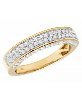 Unisex 10K Yellow Gold Real Diamond 3D Band Ring 1.25ct 5MM
