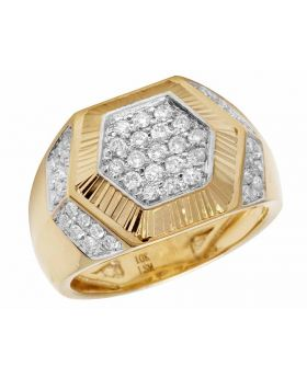 10K Yellow Gold Hexagon Real Diamond Pinky Ring 1.0CT 15MM