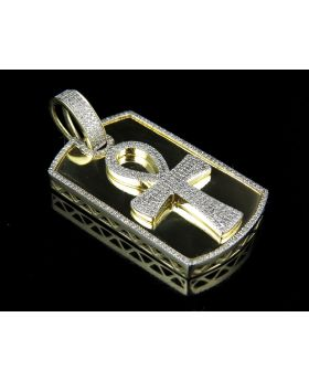 10K Yellow Gold Real Diamond Ankh Dogtag Pendant 1.0ct 1.75""