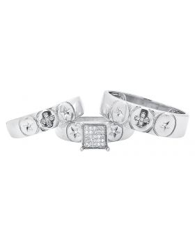 Round Star and Cross Design Trio Ring Set in White Gold Finish (0.15 ct)