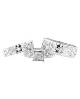 David Star and Diamond Design Trio Ring Set White Gold Finish (0.15 ct)