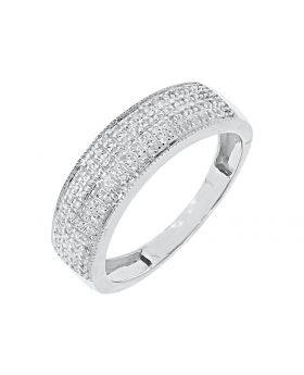 Mens Pave Diamond Band with Milgrain Edges in White Gold (0.40 ct)