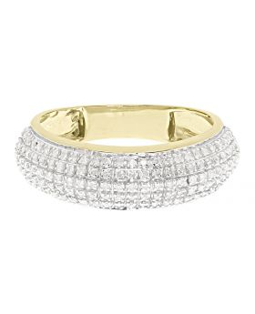 10k Yellow Gold Mens 7mm Pave Diamond Domed Band (0.60 ct)