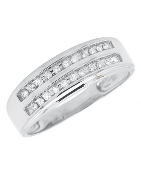 10K White Gold Channel Diamond Band (0.20 ct)