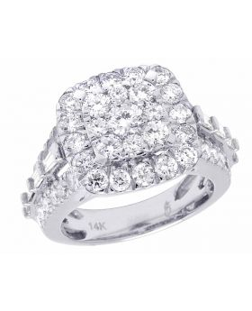 Ladies 14K White Gold Real Diamond Square Cluster Engagement Ring 3 CT 15MM