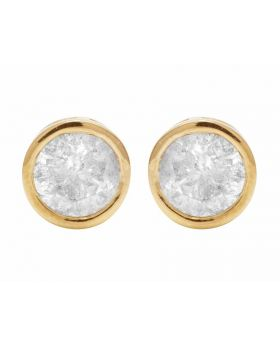Unisex 14K Yellow Gold Real Diamond Solitaire Bezel Studs Earring 1.0ct