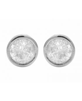 14K White Gold Solitaire Bezel Unisex Studs Earring 1.50ct 7MM