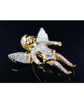 Genuine Diamond Curly Hair Angel Pendant  In 10K Yellow Gold  (1 Ct)