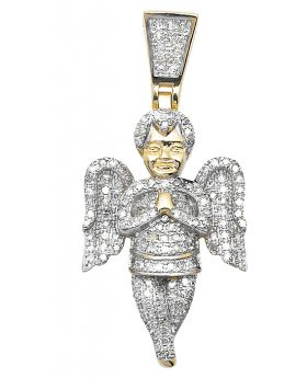 10K Yellow Gold Praying Angel Diamond Pendant (0.66 ct)