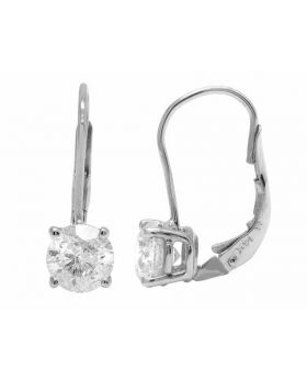 14K White Gold Genuine Diamond Solitaire LeverBack Earrings 2.0ct
