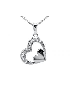 Ladies White Gold Tilted Double Heart One Row Diamonds Pendant (0.10ct.)