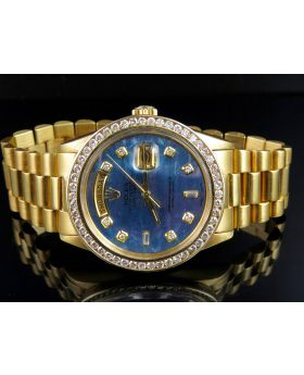Rolex President 18K Day-Date President Tahitian Blue Dial with Diamond Bezel (3.0 ct)