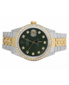 Rolex Datejust 18K Two Tone 36MM Quickset Green Dial Diamond Watch (3.0 Ct)