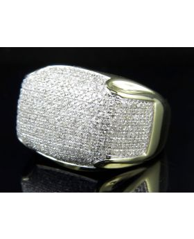 Mens 10K Yellow Gold Dome Pinky Ring 1.5ct