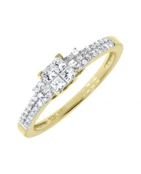 Princess Round Diamond Engagement Ring in 10k Yellow Gold (0.37 ct)