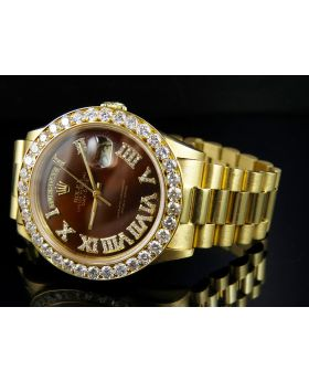 Rolex President 18k Yellow Gold Day-Date with Diamond Bezel (6.0 Ct)