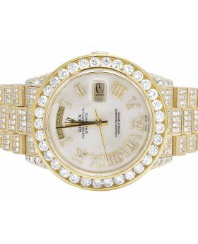 Rolex 18K Yellow Gold Day-Date President 18038 Diamond Watch (21.35 Ct)