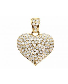 14K Yellow Gold Real Diamond Puff Heart Pendant Charm 1.5ct 0.7""