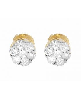 Ladies 10k Yellow Gold Genuine Round Diamonds Flower Stud Earrings 1/2 ct  6MM