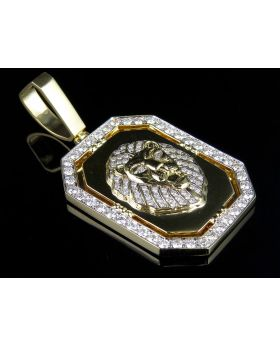 10K Yellow Gold Solid Heavy Lion Pendant Medallion (4 ct)