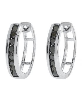 Black Diamond 15mm Round Hoops in White Gold Finish (0.50 ct)