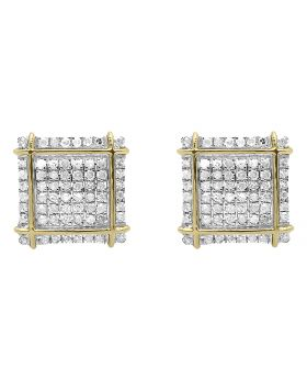 Diamond Square Earrings in 10k Yellow Gold (0.35 ct)